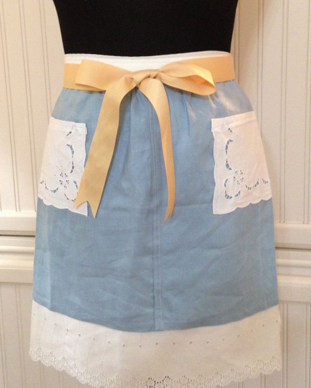 White tudor apron - Vintage Half Apron Linen Napkin Denim Blue With White Cutwork Lace Grosgrain Ribbon Ties