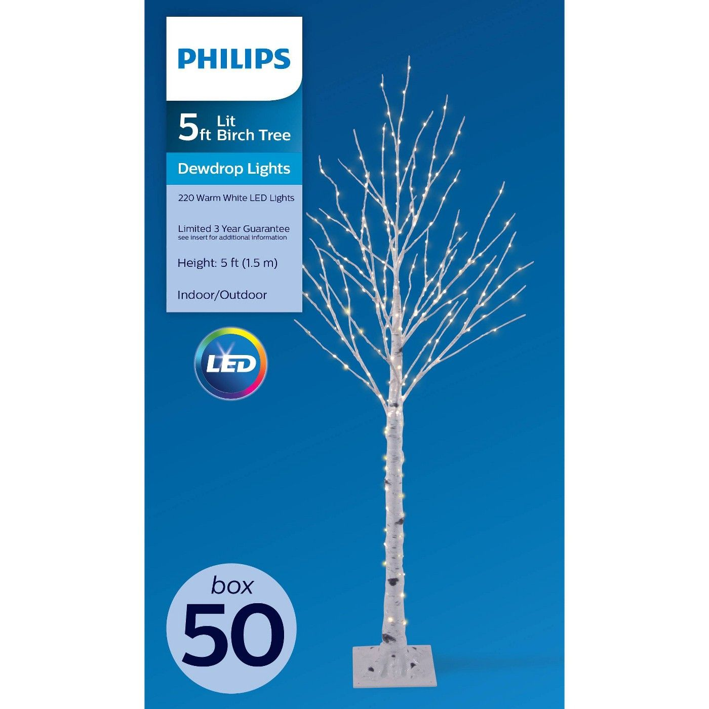 Philips 5ft Prelit Artificial Christmas Slim Birch Twig