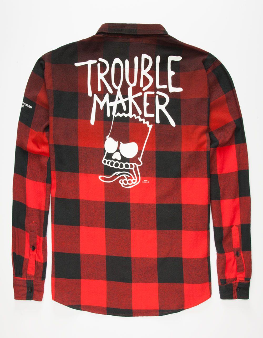 Shirt design maker app - Neff X The Simpsons Trouble Maker Mens Flannel Shirt 263245300 Flannels