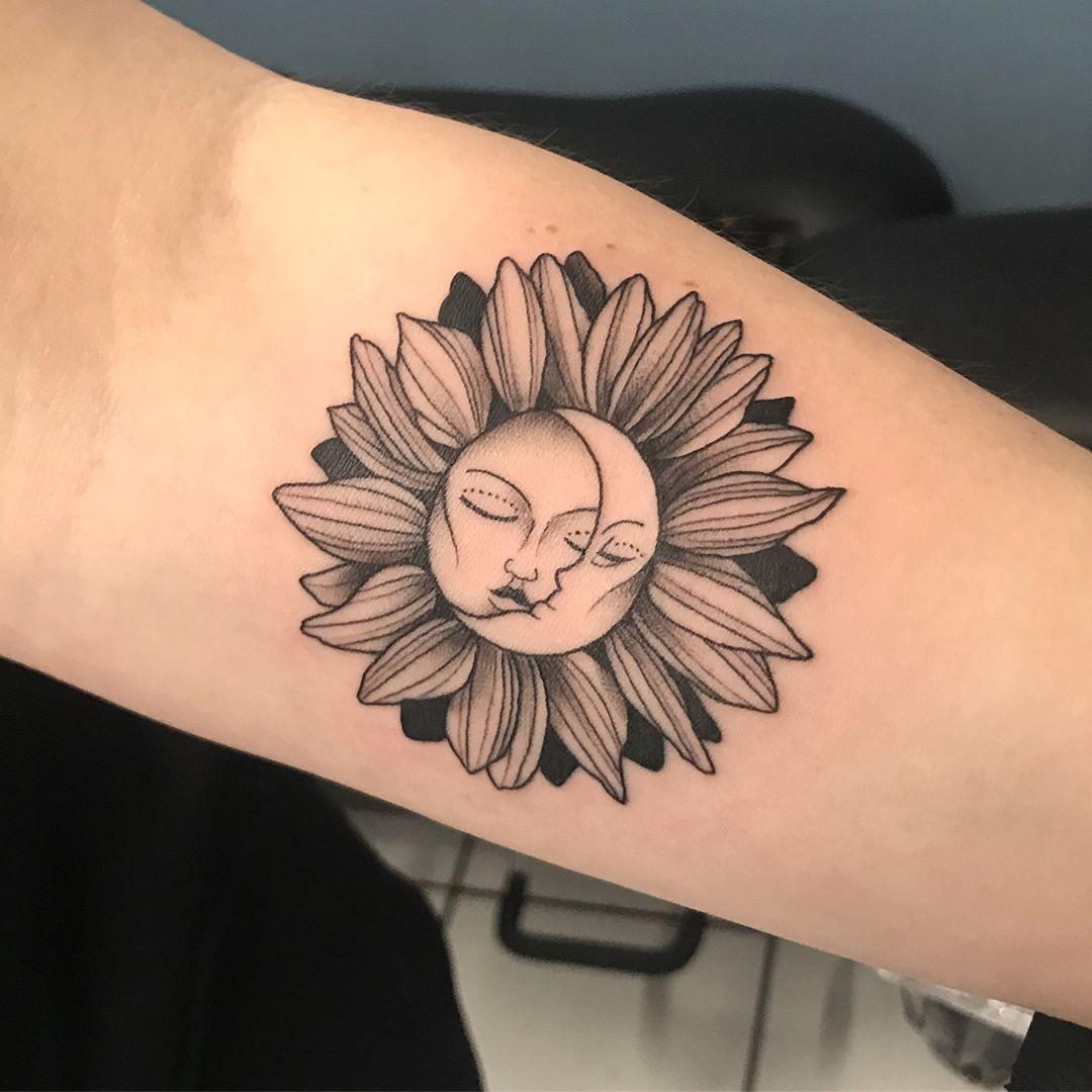 Sun And Moon Sunflower Tattoo Tattoo Ideas And Inspiration Sunflower Tattoo Moon Tattoo Designs Sunflower Tattoo Shoulder