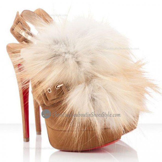 Cheap 150mm Ankle Boots Brown Splash Fur Elephant by Chrisitan Louboutin