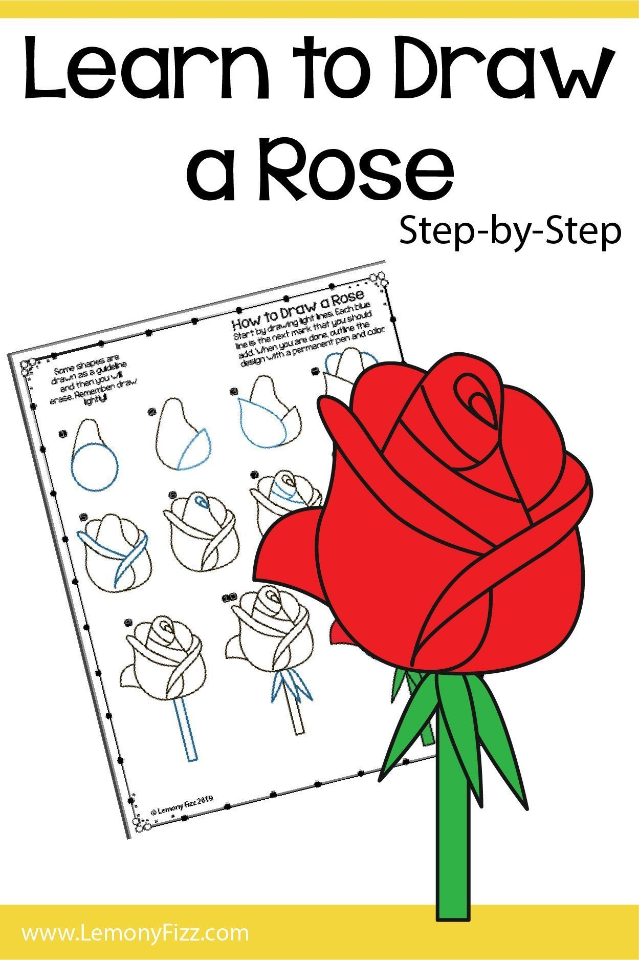 Easy How To Draw A Rose Step By Step Tutorial Roses Drawing Rose Step By Step Flower Drawing