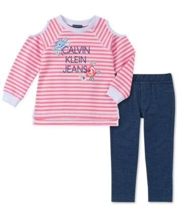 069ba9ca43b9 Toddler Girls 2-Pc. Striped Cold-Shoulder Top   Leggings Set in 2019 ...