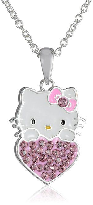 bb4f62aba Hello Kitty Girls' Silver-Plated Crystal Heart-Pendant Necklace, 18 ...