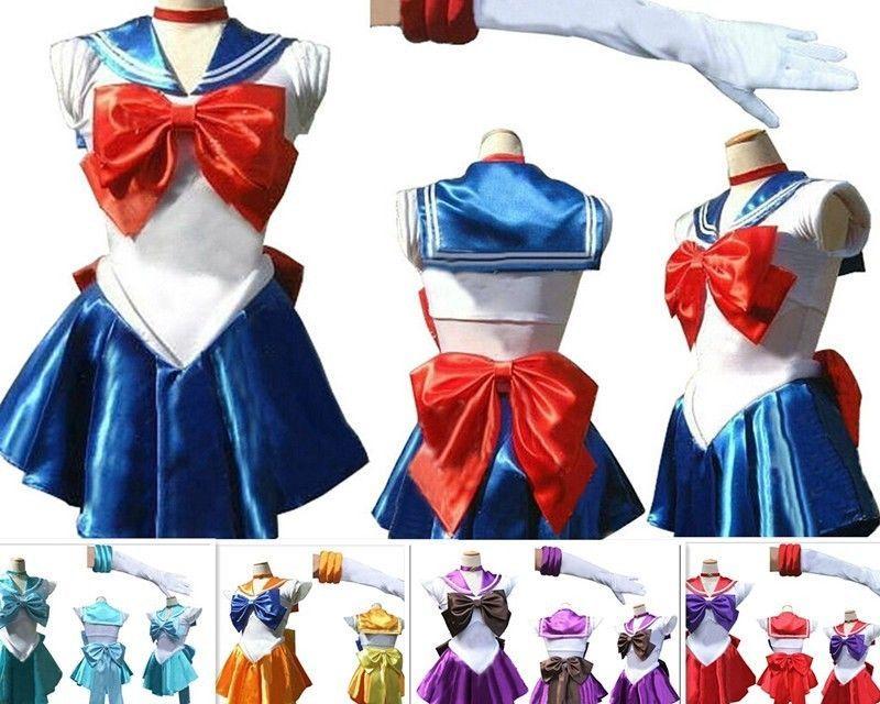 Sailor Moon Costume Cosplay Uniform Fancy Party Dress /& Gloves Halloween Costume