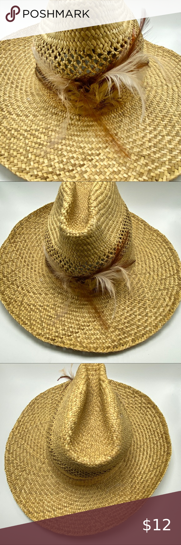 Straw Cowboy Hat With Feathers Straw Cowboy Hat Cowboy Hats Women Accessories Hats