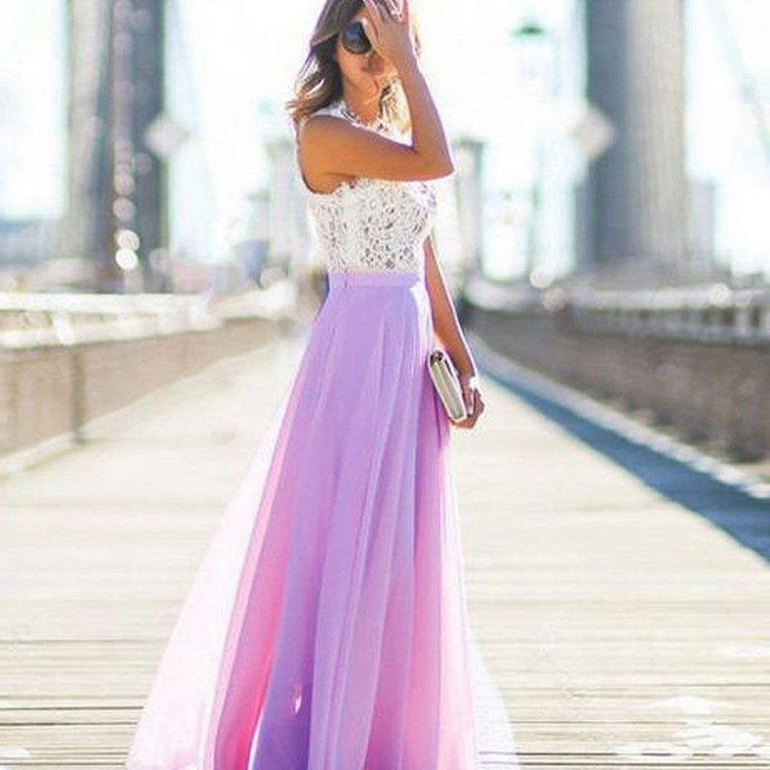 8c79b69ab7 Ellisia White Lace Chiffon Skirt Long Maxi Dress | Prom Dresses ...