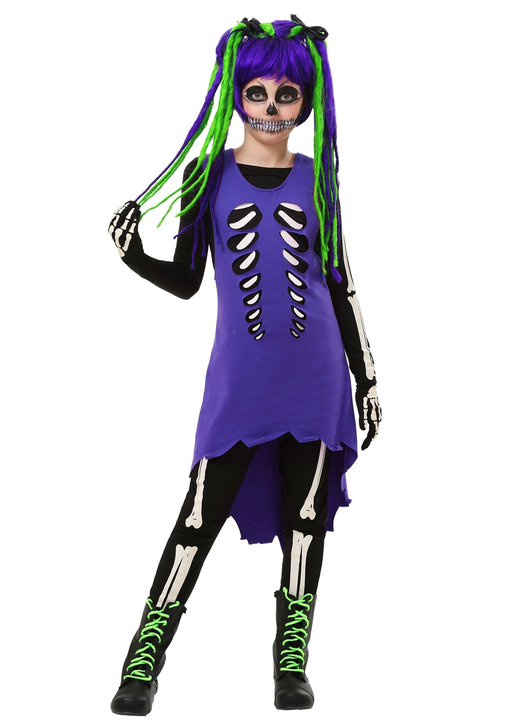 Cute kids Halloween costume ideas - Feel unique and spunky in this child purple and green skeleton costume! Have fun with bright colors while being the ...  sc 1 st  Pinterest & Cute kids Halloween costume ideas - Feel unique and spunky in this ...