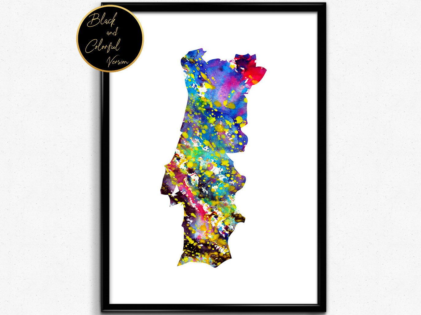 Portugal Map Watercolor Poster Watercolour Art Watercolor