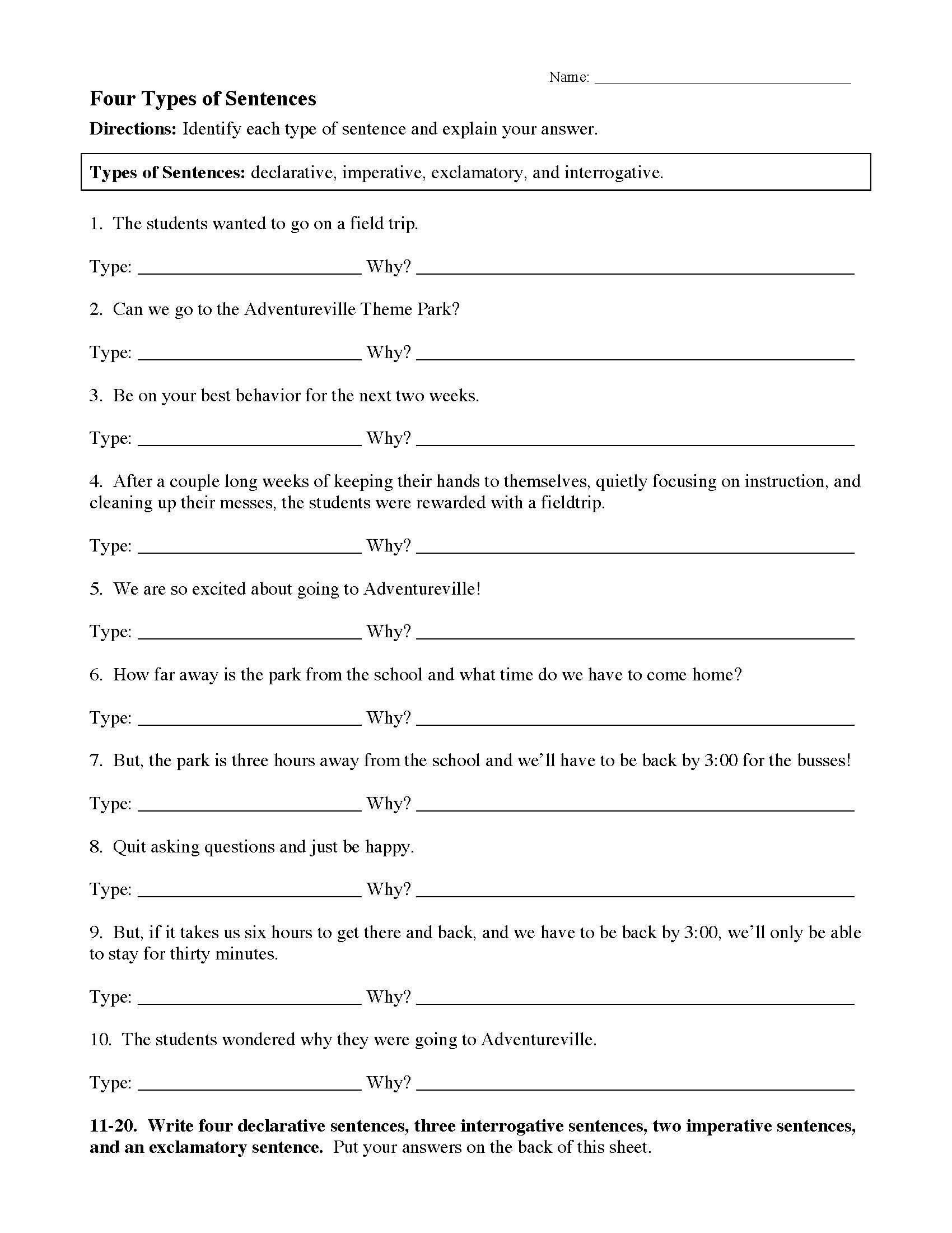 4 Types Of Sentences Worksheet In