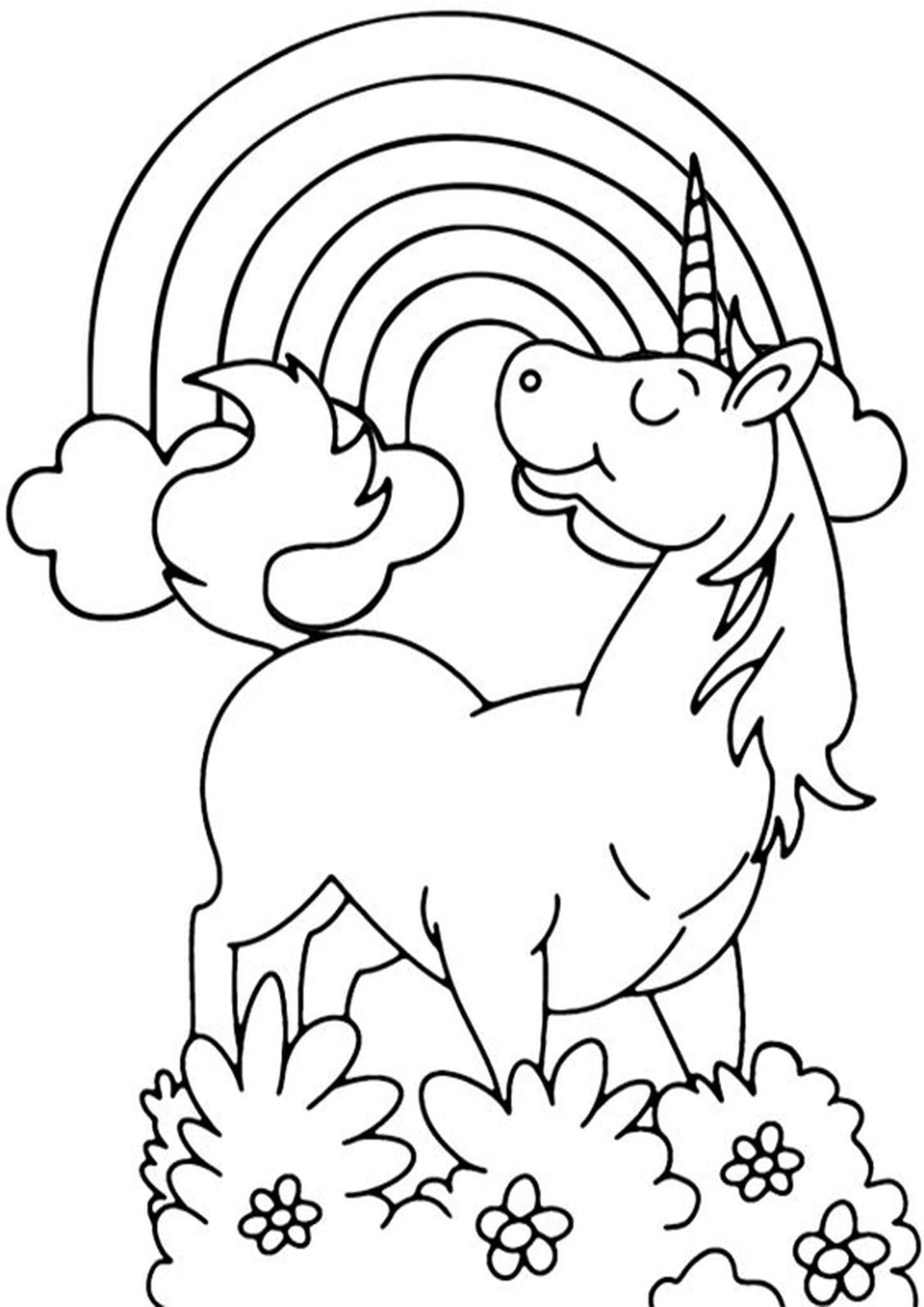 Free Easy To Print Rainbow Coloring Pages Unicorn Coloring Pages Rainbow Drawing Coloring Pages [ 2048 x 1448 Pixel ]