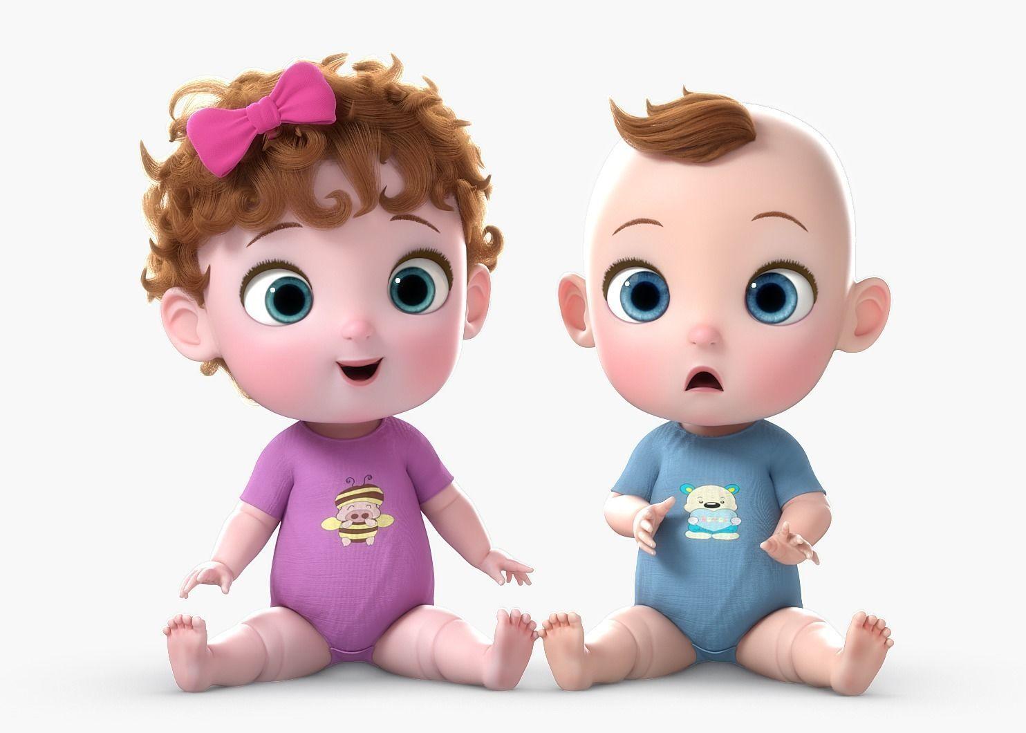 Cartoon Baby Twin Rigged 3d Model Family Cartoon Baby Cartoon Twin Babies