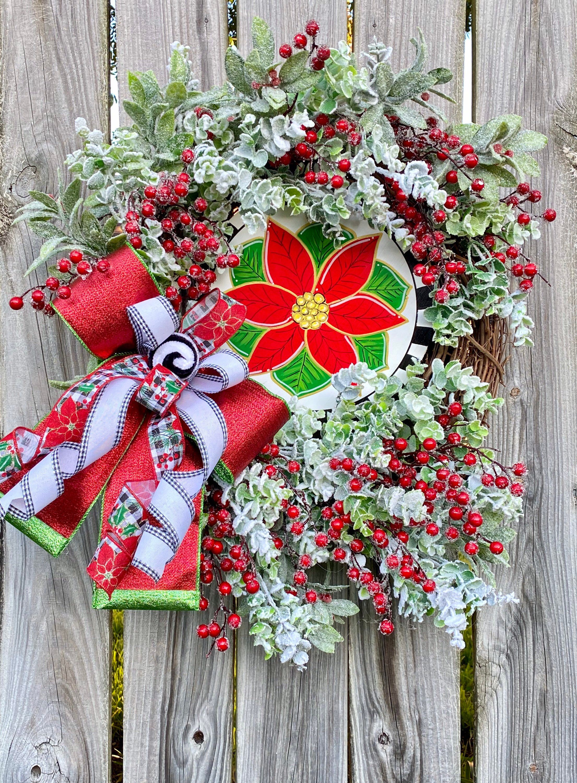 Christmas Wreath Christmas Decor Poinsettia Wreath Red Etsy Christmas Wreaths White Christmas Wreath Poinsettia Wreath