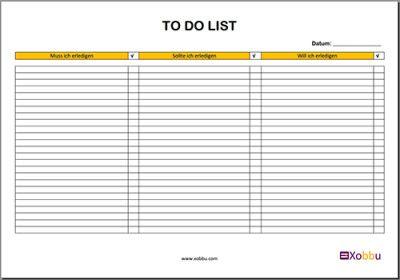 Vorlagen To Do Liste in versch. Designs und Layouts zum Download und ...