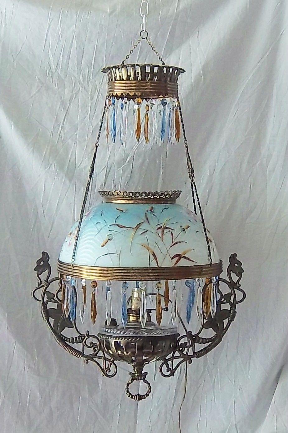 B H Bradley Hubbard Antique Vintage Hanging Oil Kerosene Lamp Dragon Electric Oil Lamps Antique Lamps Antique Light Fixtures
