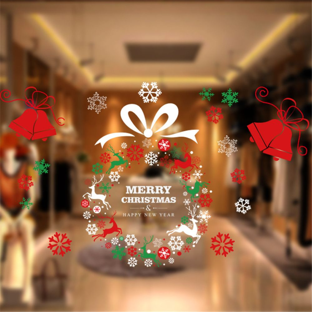 2016 New Store Supermarket Display Window Wreath Sticker Christmas Wreath  Wall Stickers Cafe Glass Door Party
