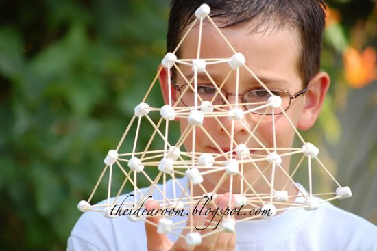 building with toothpicks and marshmallows '.'