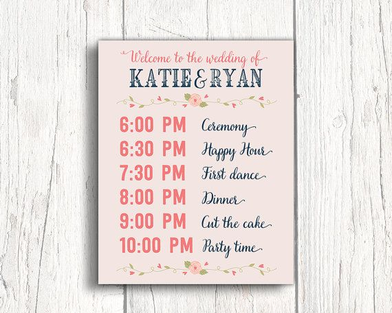 Print or canvas wedding timeline sign wedding event sign - Event Program