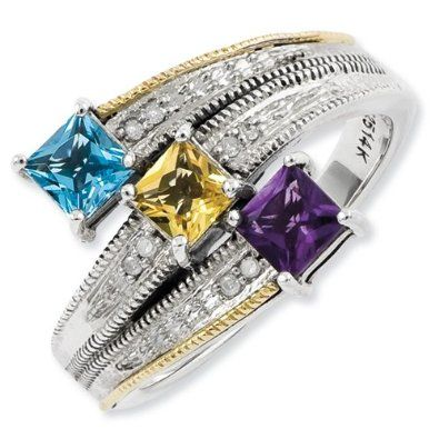 Prefect 3 Stone Mothers Ring Yellow Gold Engagement