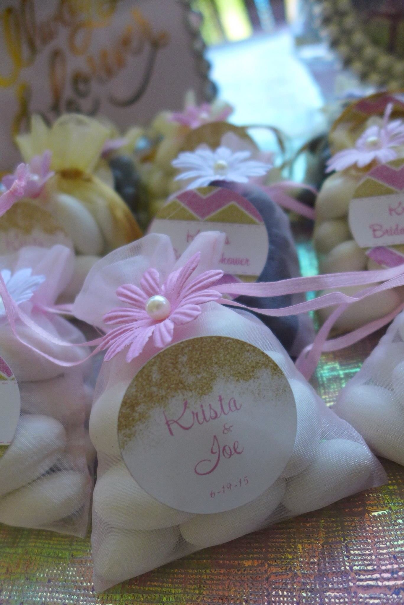 Bridal Shower Favors Organza Bags Filled With Jordan Almonds Or Dark Chocolate Cans Customized