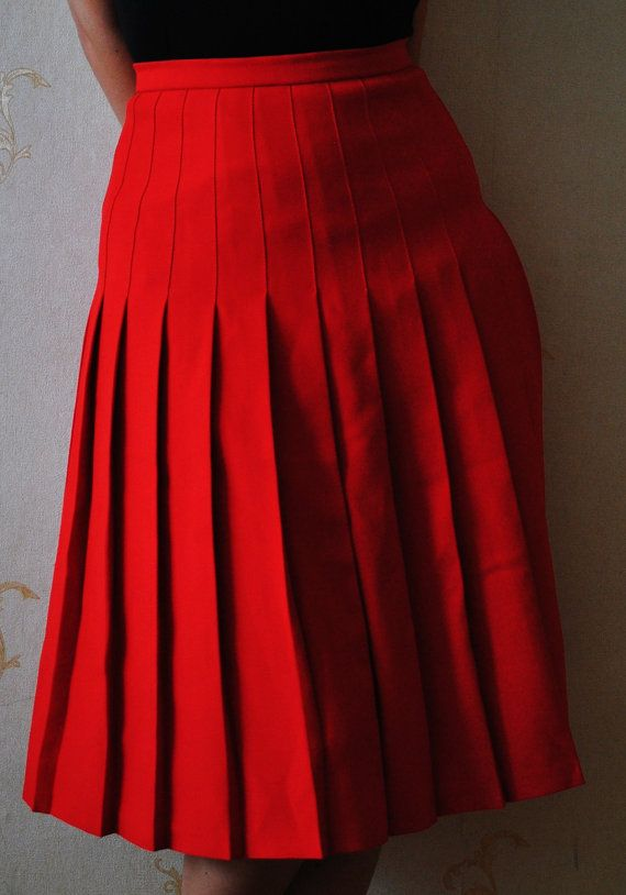 25c4f1246f Vintage Red Pleated 70's Skirt | Halloween | Skirts, Cheer skirts ...