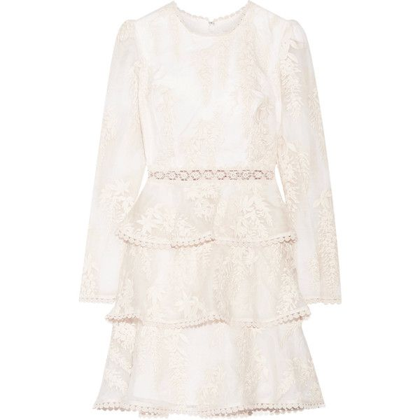 Zimmermann Maples Embroidered Crocheted Lace Trimmed Silk Organza Mini 995