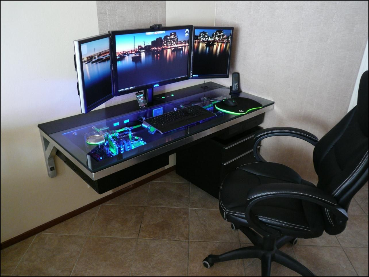 when i get my own home a setup like this i shall build even rh pinterest com desk computer case mod desk computer case build
