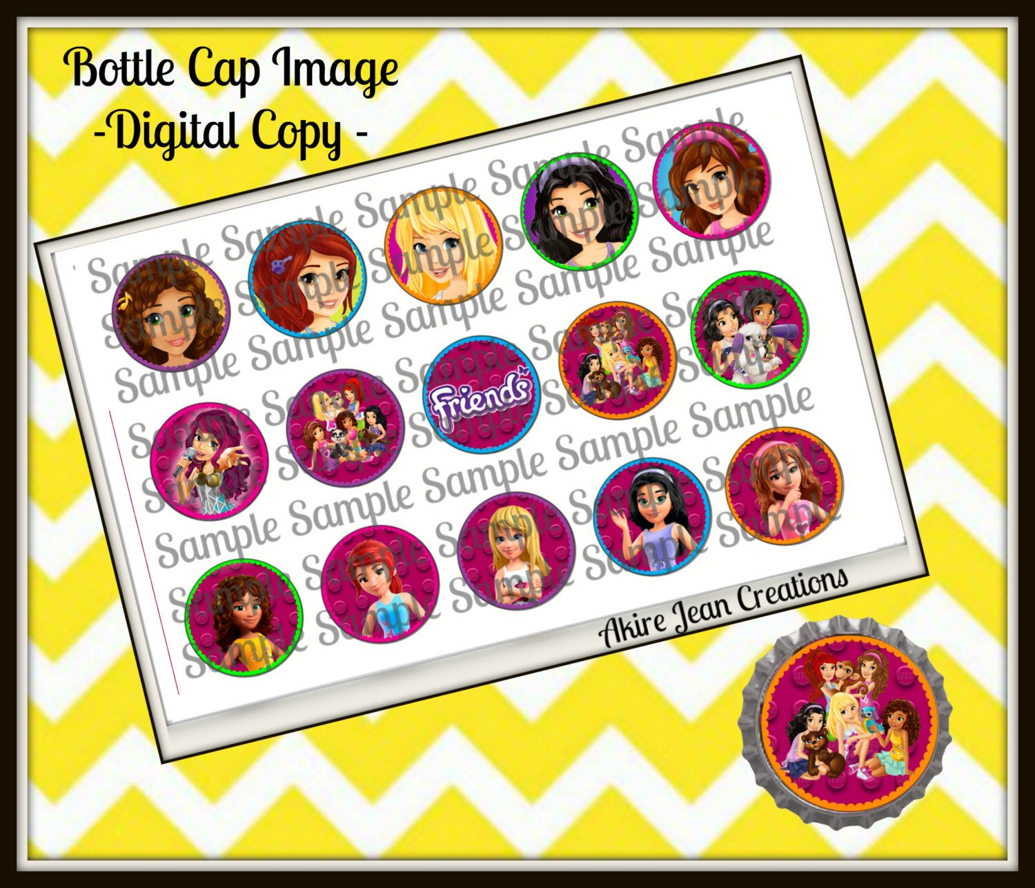 Lego Friends  -INSTANT DOWNLOAD - Bottle cap Images - Cake toppers - Bow Center- Shimmer and Shine by AkireJeanCreations on Etsy https://www.etsy.com/listing/262318643/lego-friends-instant-download-bottle-cap