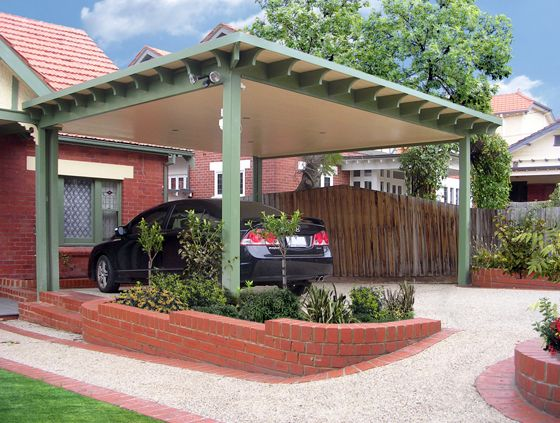 Customized Carport Embellished Unsure If This Is A Pyramid Hipped Roof Or A Flat Roof Carport Ceiling And Decorat Carport Designs Carport Pergola Carport