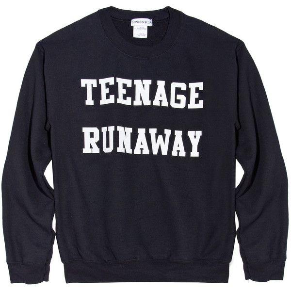 Teenage Runaway Sweatshirt (Black) (€39) ❤ liked on Polyvore featuring tops, hoodies, sweatshirts, sweaters, shirts, black sweatshirt, unisex shirts, unisex tops, black top en black shirt