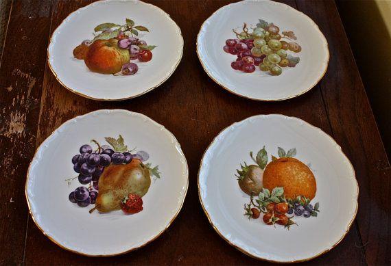 Arzberg küchenfreunde ~ 4 gorgeous bavarian plates with fruits marked schumann arzberg