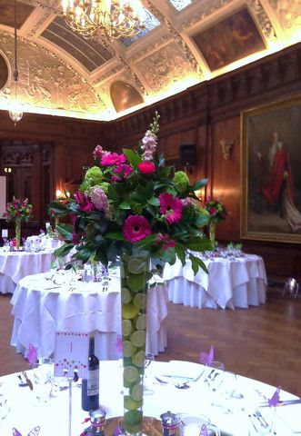 pink gerbera, roses, delphinium, viburnum .Weddings | Flower Candy