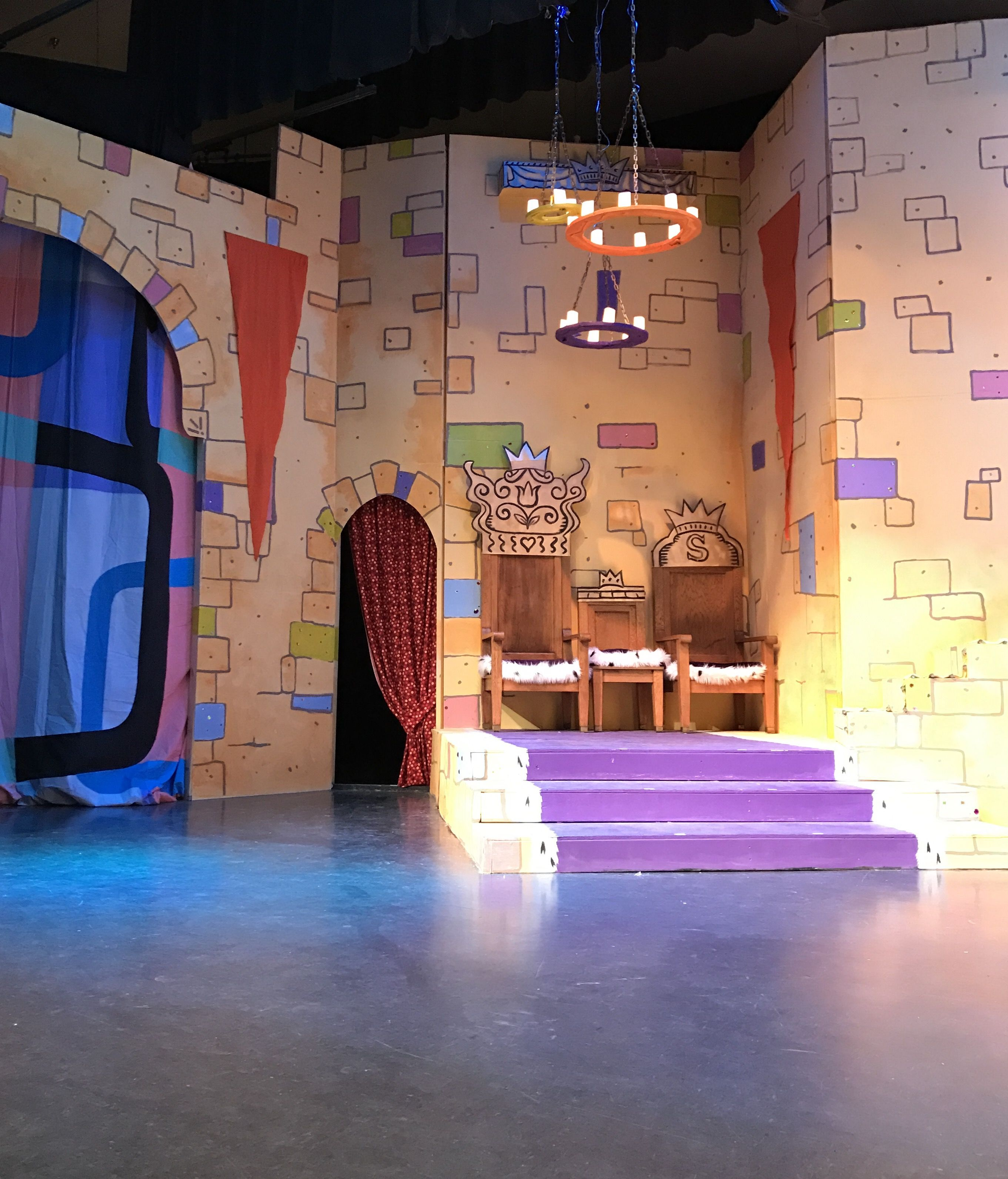 The Throne room with the chandeliers lit. Once Upon a Mattress, set  decoration,