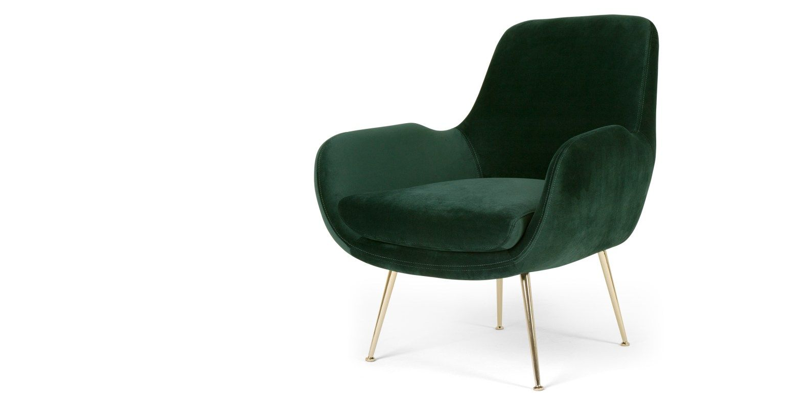 Moby Fauteuil D Appoint Velours Vert Sapin In 2020 Green Lounge Accent Arm Chairs Armchair
