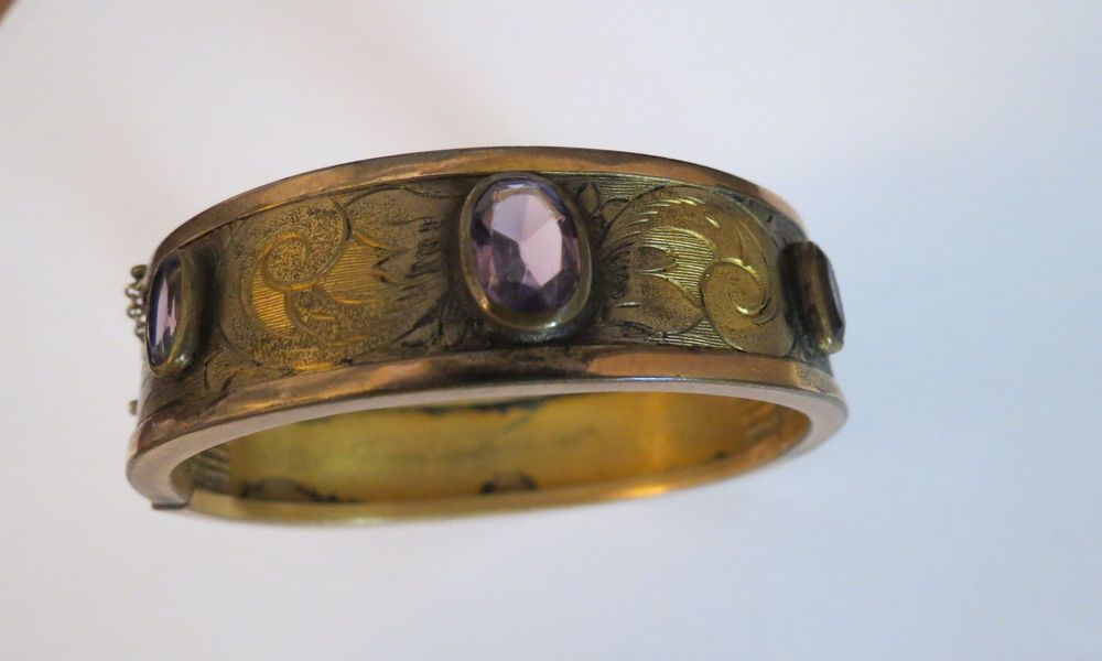 W&D Art Nouveau Pre 1915 Whiting Davis Bangle Bracelet Hinge Amethyst Oval Stone #WhitingDavis #Bangle