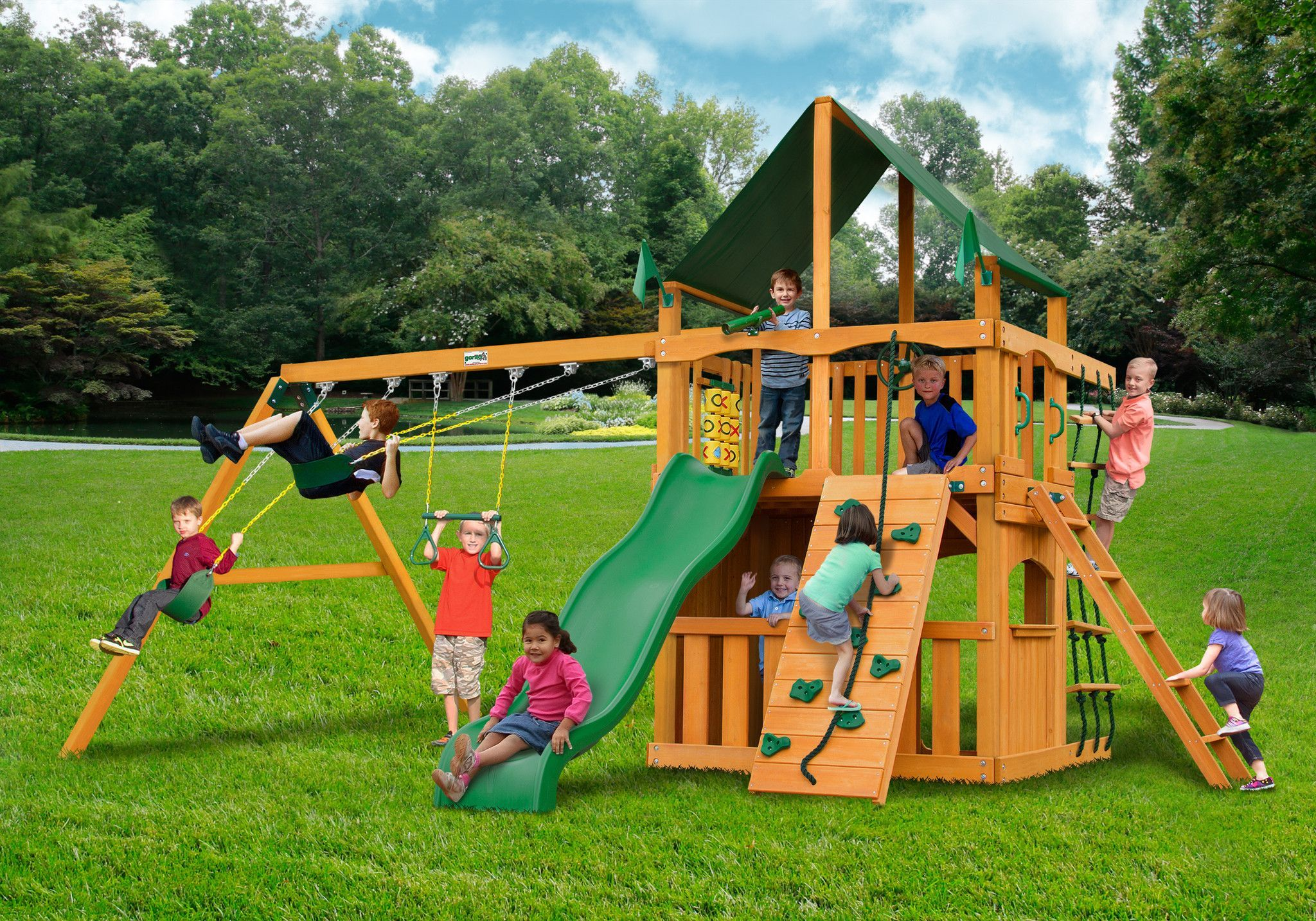 gorilla playset chateau ii clubhouse kids wooden swingset amber