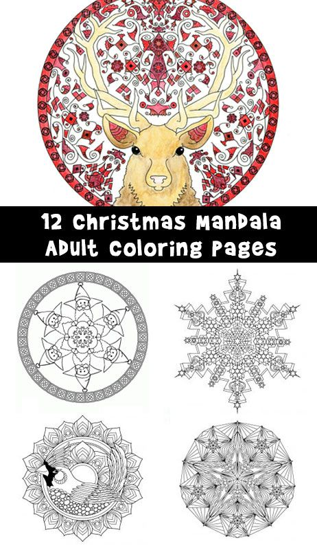 12 Gorgeous Christmas Mandalas To Color With Intricate Designs Of Angels Reindeer Santas And Snowflakes