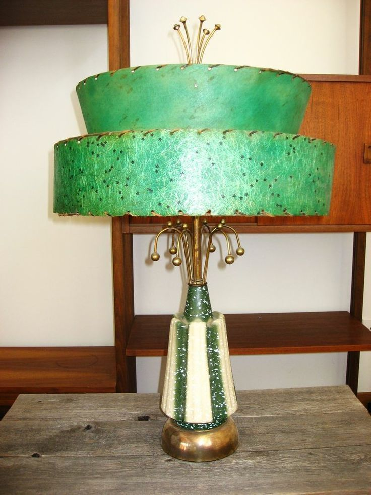 Mid century modern lamp shades mid century modern atomic green two mid century modern lamp shades mid century modern atomic green two tier fiberglass shade aloadofball Image collections