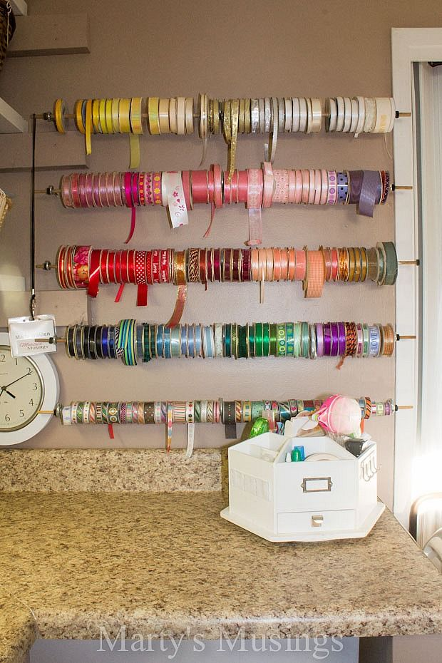eclectic crafts room.  Eclectic Awesome Ribbon Storage Idea For Eclectic Crafts Room
