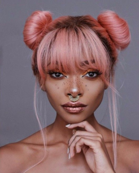 two buns with bangs pink hair