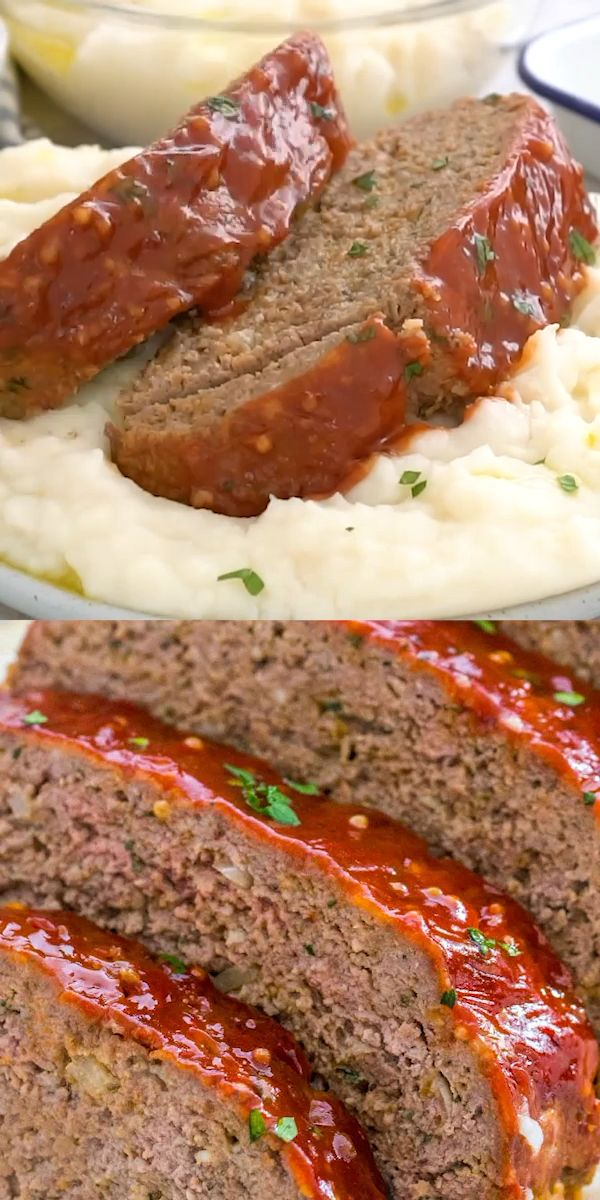Meatloaf Recipe that is flavorful and juicy on the inside, with a delicious glaze spread on the outside. #meatloaf #meatloafrecipe #beefrecipes #sweetandsavorymeals #recipevideo