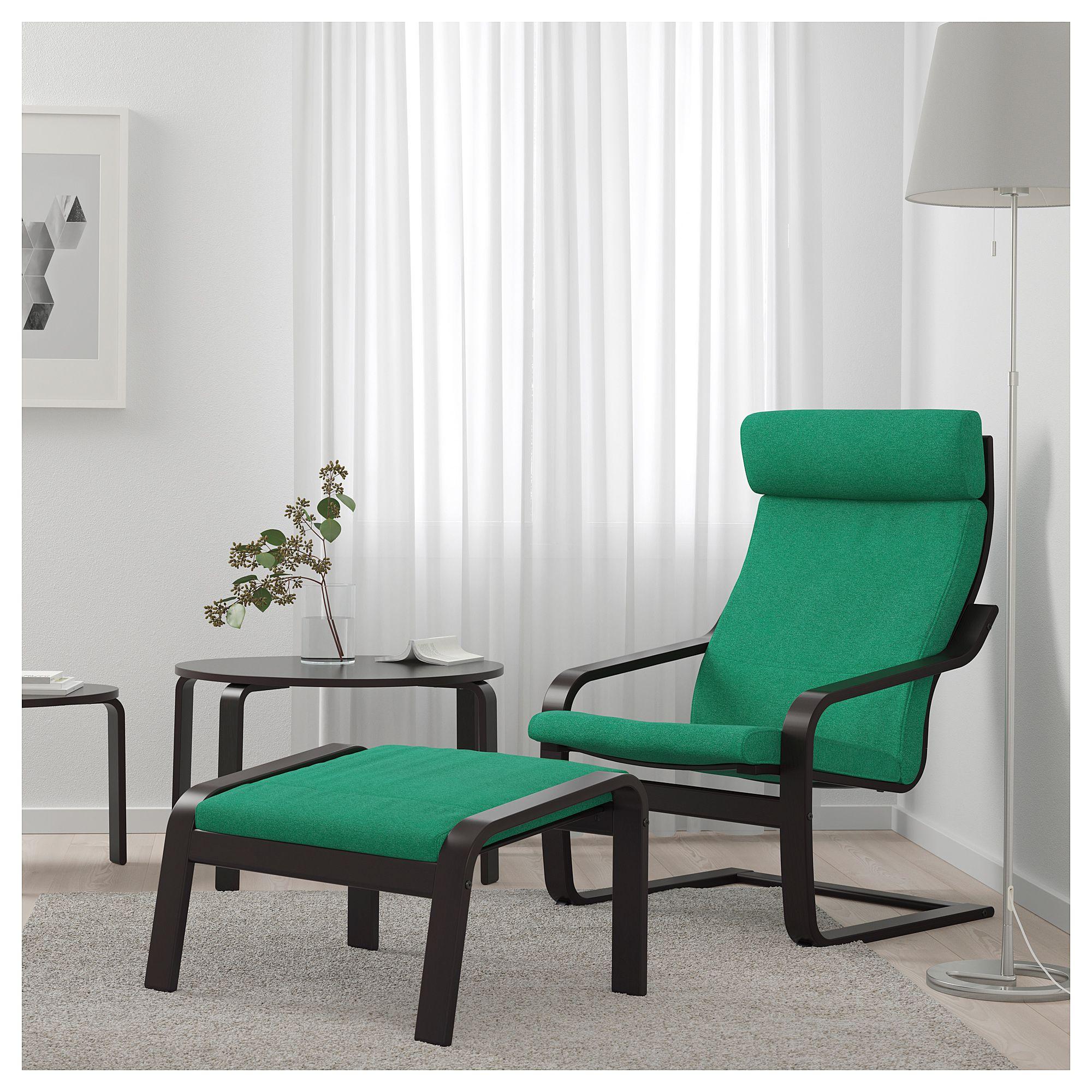 Ikea Poäng Repose Pieds Brun Noir Lysed Vert Vif In 2019