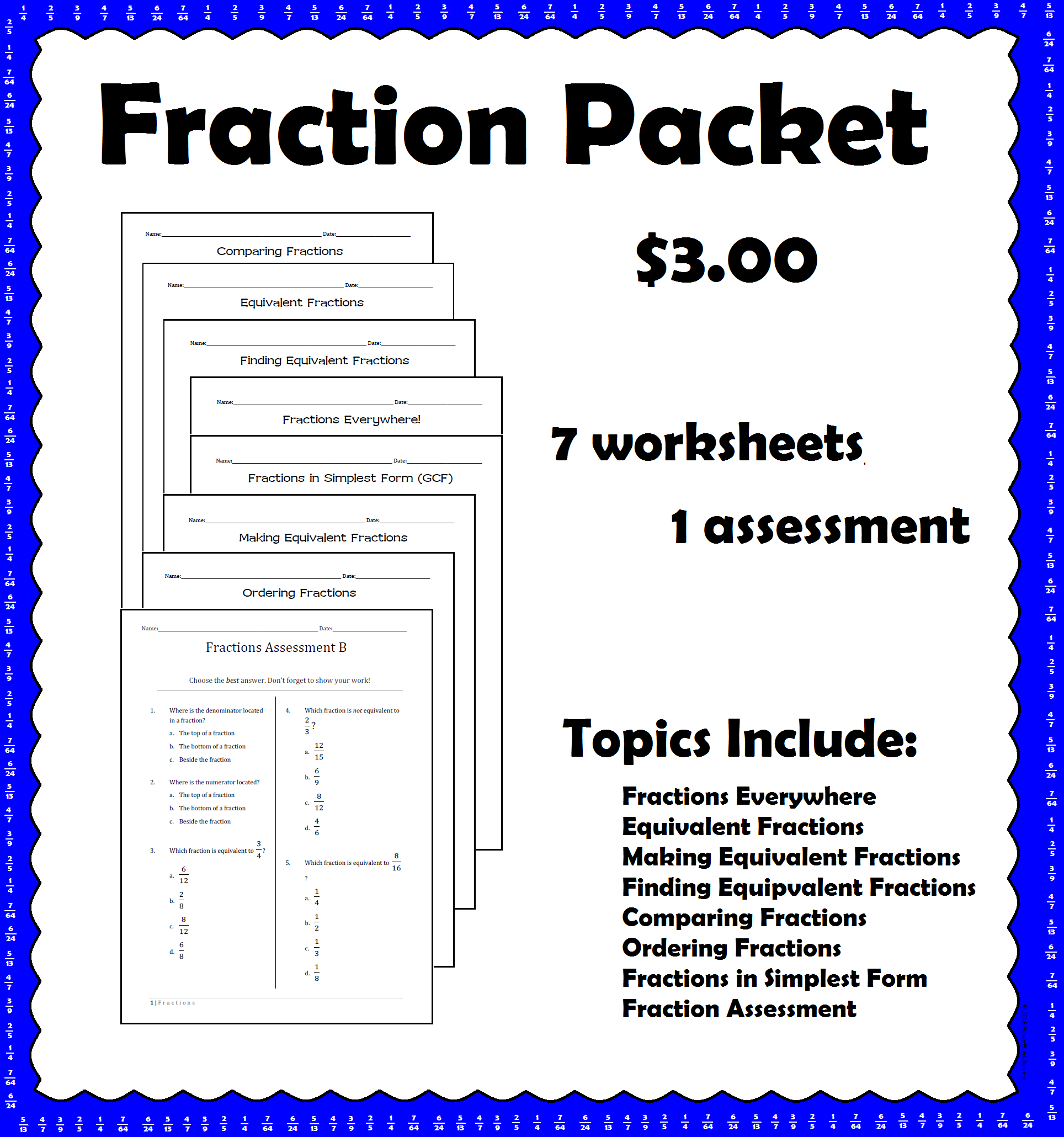 This Packet Includes All My Fraction Worksheets 7