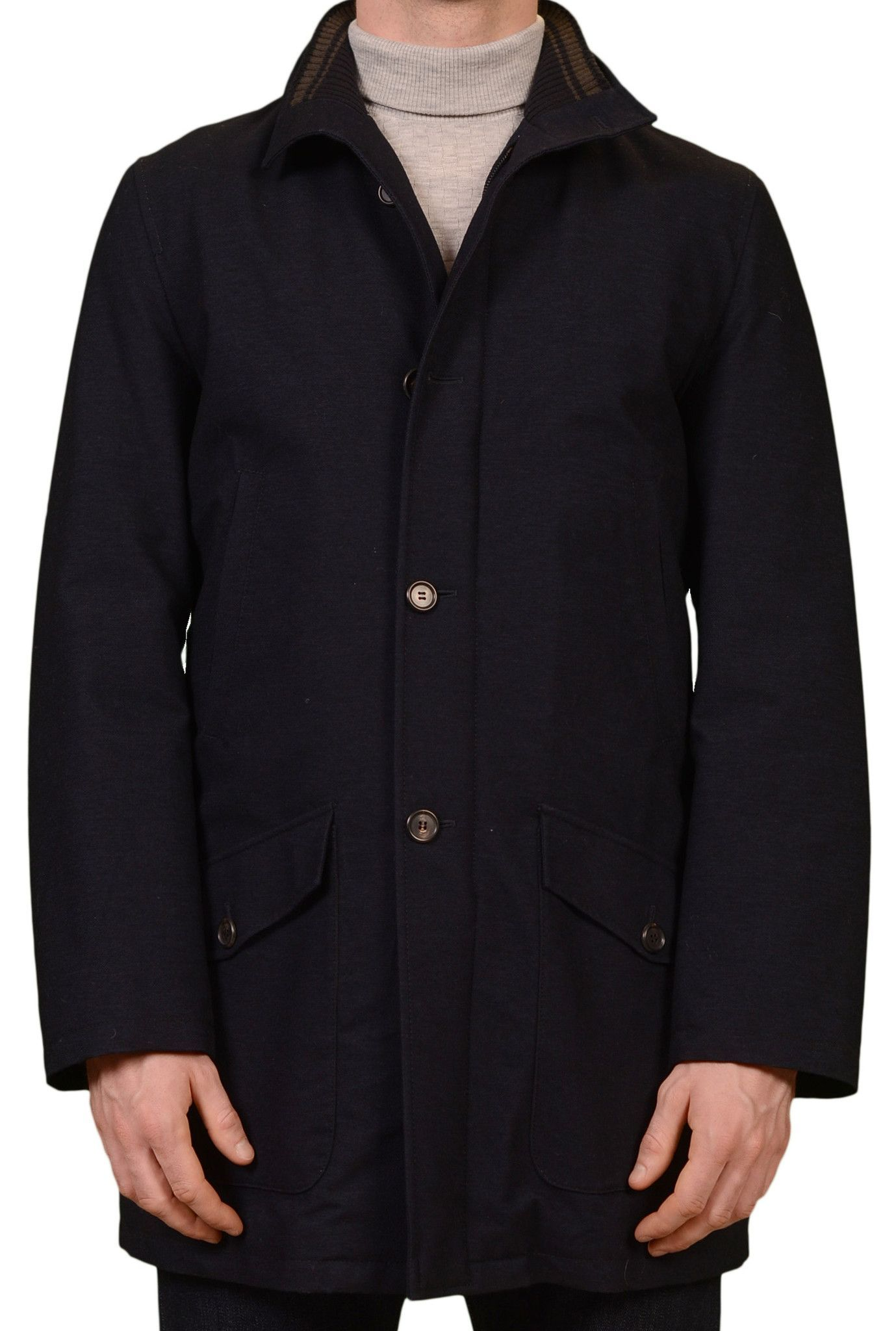 Punto Rosso by KITON Napoli Navy Blue Wool Blend Puffer Jacket Coat 50 NEW 40 K