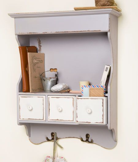 French Grey Distressed Wall Cabinet