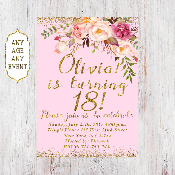 floral 18th birthday invitations party