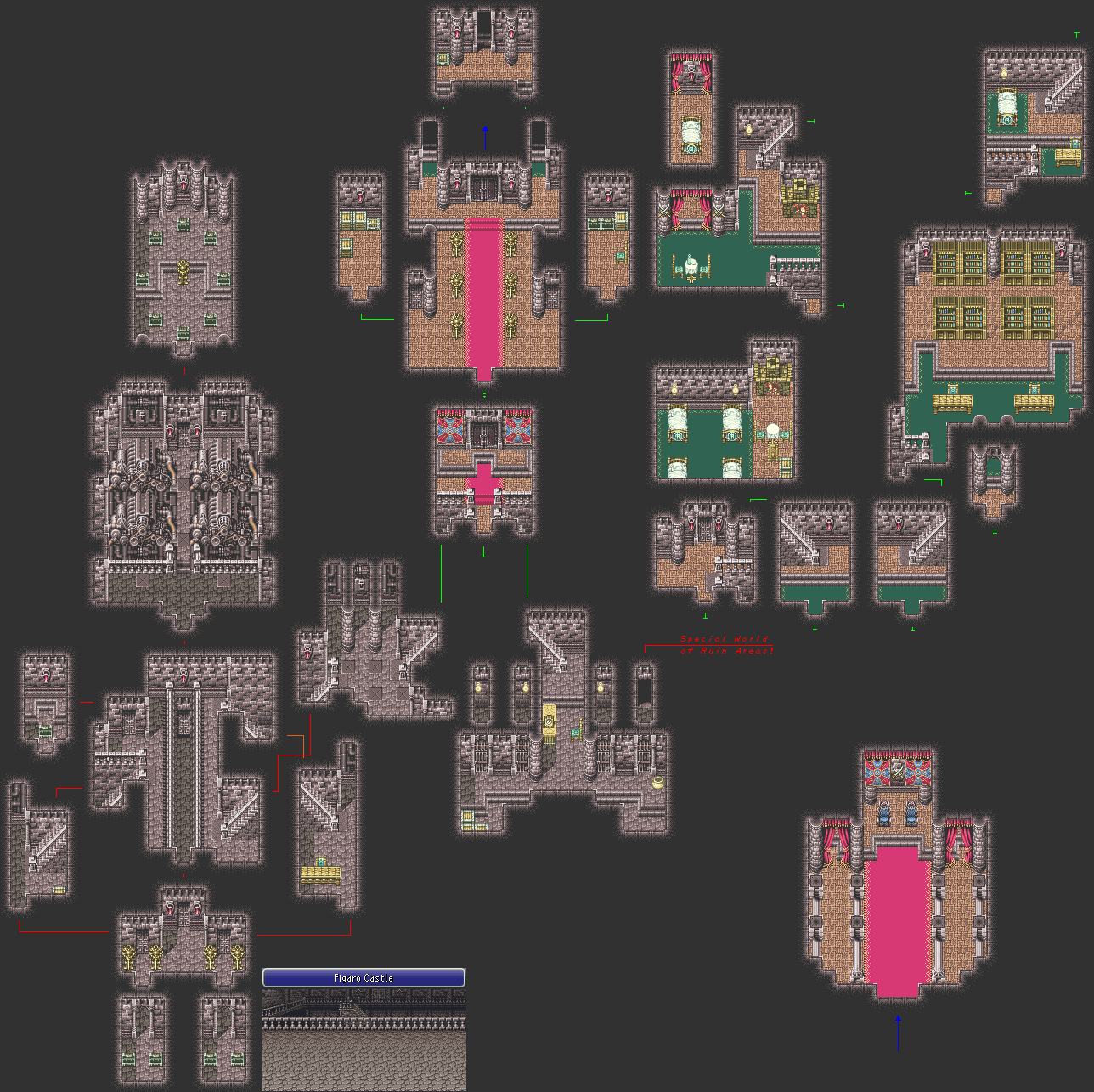Final Fantasy 6 Gameboy Advance Castle Map | Final fantasy ...