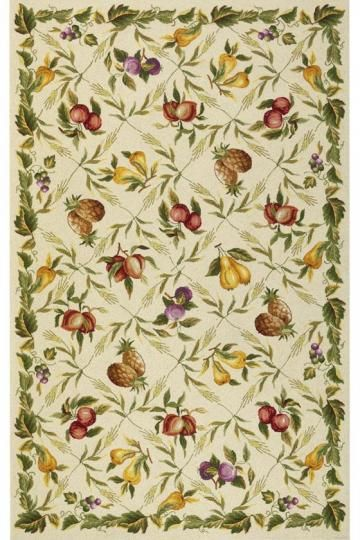 Flowers And Fruit Wool Rug In Ivory   X