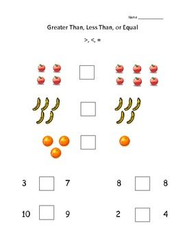 more less equal worksheets free pdf