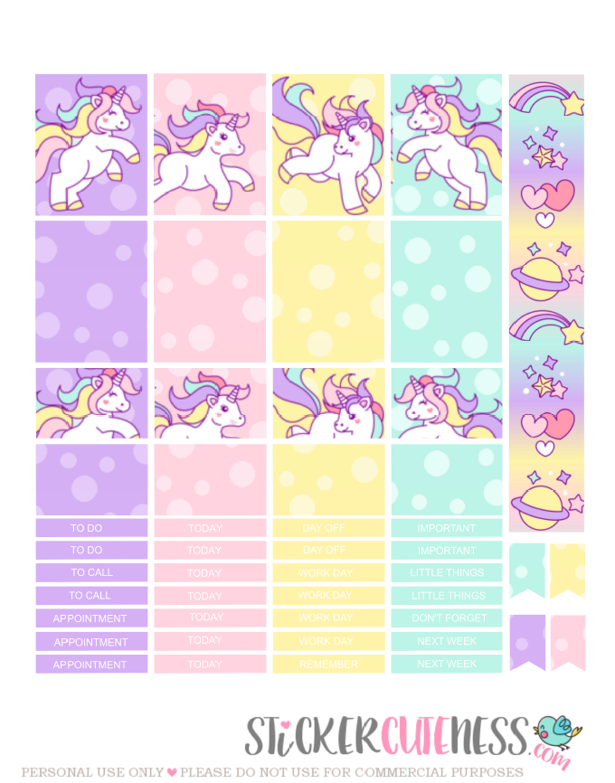 Free Printable Unicorn Rainbow Planner Stickers From